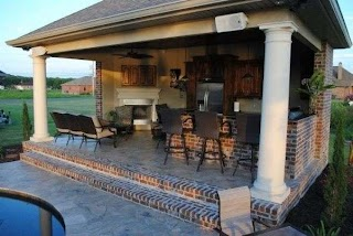 Backyard Designs with Pool and Outdoor Kitchen Paradise Inground Gunite Saltwater Southern