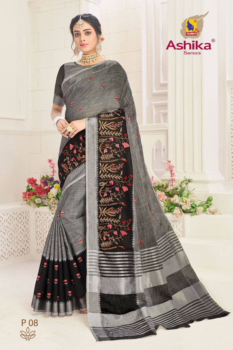 Grey Color Linen Fabric Embroidered Daily Wear Simple Saree