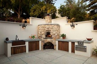 Outdoor Kitchen with Pizza Oven Plans Designs Featuring S Fireplaces and Other