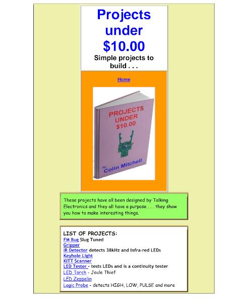 تحميل كتاب Projects under$10.pdf - دوائر ومشاريع الكترونية