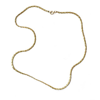 14K Gold Etched Chain Necklace
