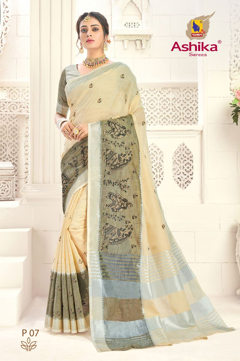 Beige Linen Embroidered Daily Wear Simple Saree