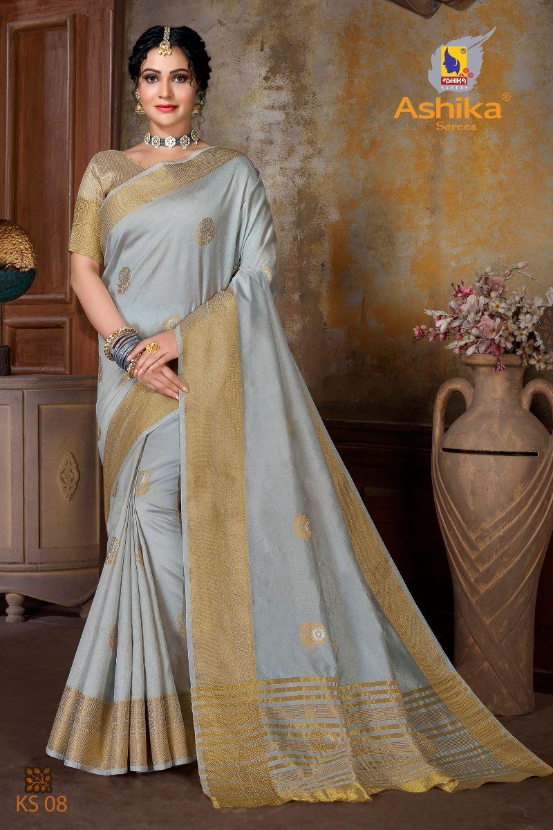 Grey Colour Soft Mercerised Cotton Silk With Rich Gold And Silver Zari Butta