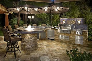 Outdoor Kitchen with Firepit Outstanding Ideas Including Kits Fire