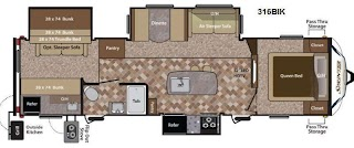 Travel Trailer with Bunk Beds and Outdoor Kitchen Used 2013 Keystone Rv Sprinter 316bik at Flagg Rv W