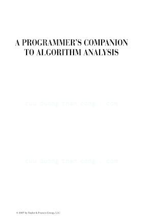 1584886730 {4ABB1030} A Programmer_s Companion to Algorithm Analysis [Leiss 2006-09-26].pdf