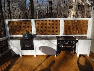 Outdoor Kitchen Flat Top Grill Raleigh Custom Deck with Featuring an Egg and A