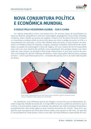 NOVA CONJUNTURA POLITICA ECONOMICA MUNDIAL: CRISE NOS EUA, NA EUROPA E EMERGENCIA DA CHINA