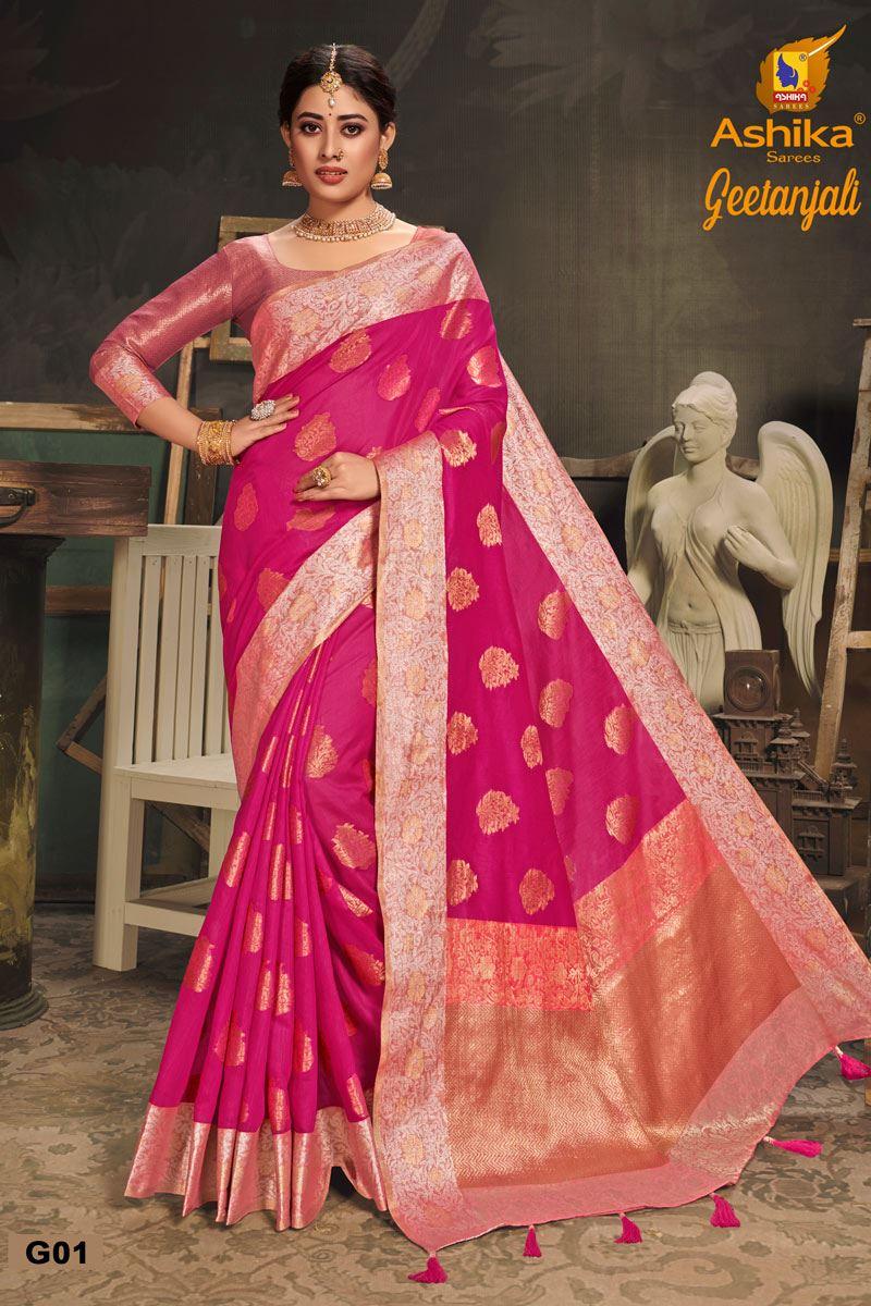 Rani Color Cotton Silk Fabric Trendy Weaving Work Saree