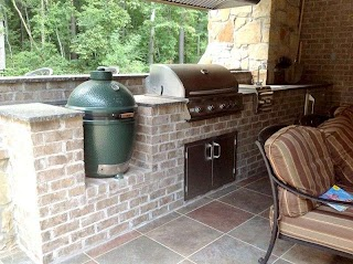 Brick Outdoor Kitchen with Green Egg Smoker and Stainless Steel