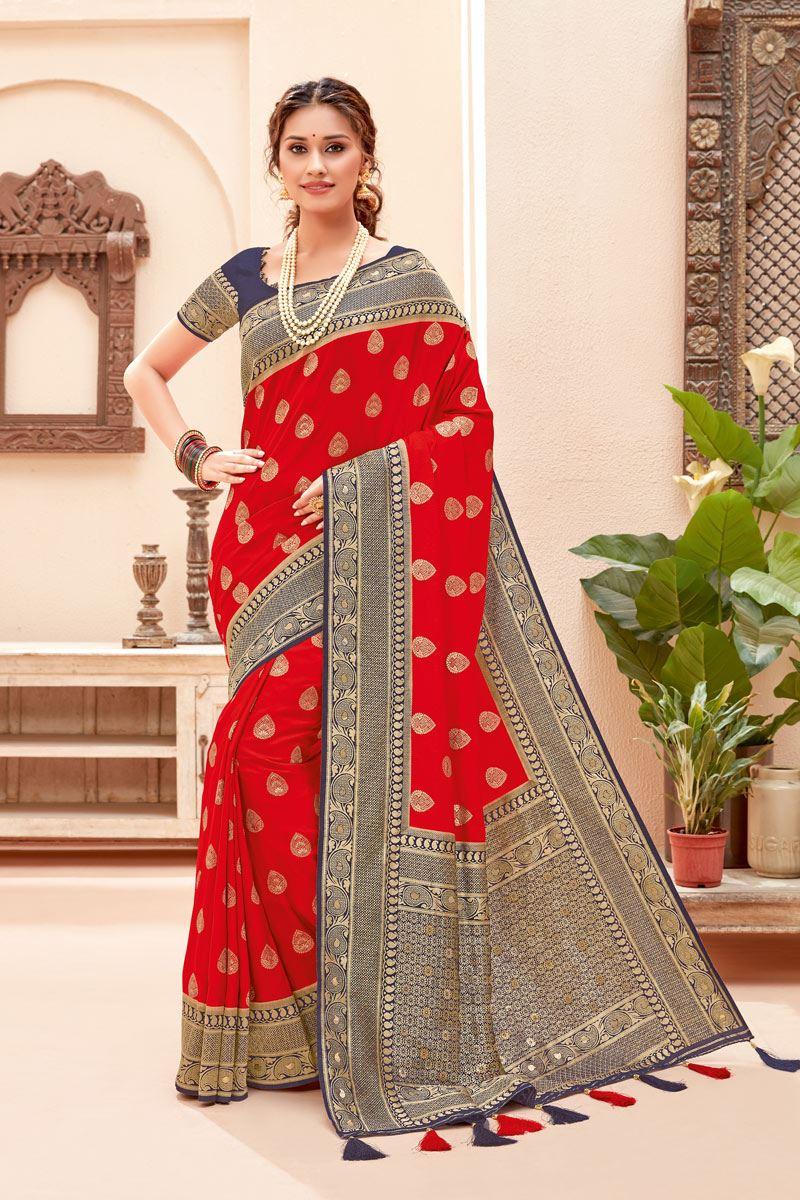 Red Color Silk Fabric Zari Work Sangeet Wear Fancy Saree