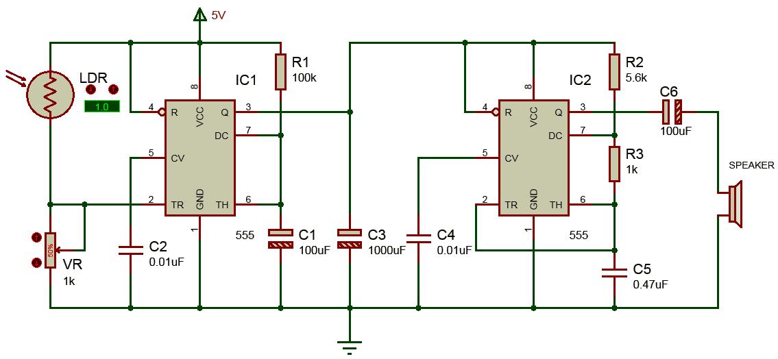 Mạch báo động dùng IC 555