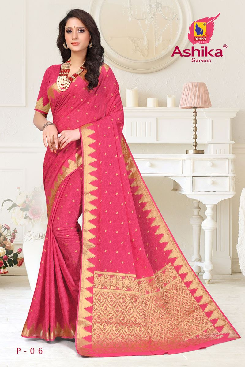 Pink Color Crepe Fabric Function Wear Weaving Work Saree