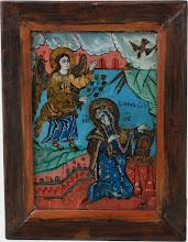 "Icoana pe sticla ""Buna Vestire"", sec al XVIII-lea, Transilvania"