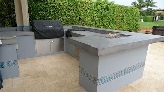 Concrete Countertops for Outdoor Kitchen Firepits Built Into Counter Tops in S