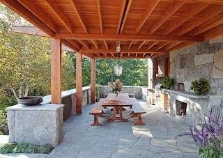 Rustic Outdoor Kitchen Camden Maine Contemporary Patio