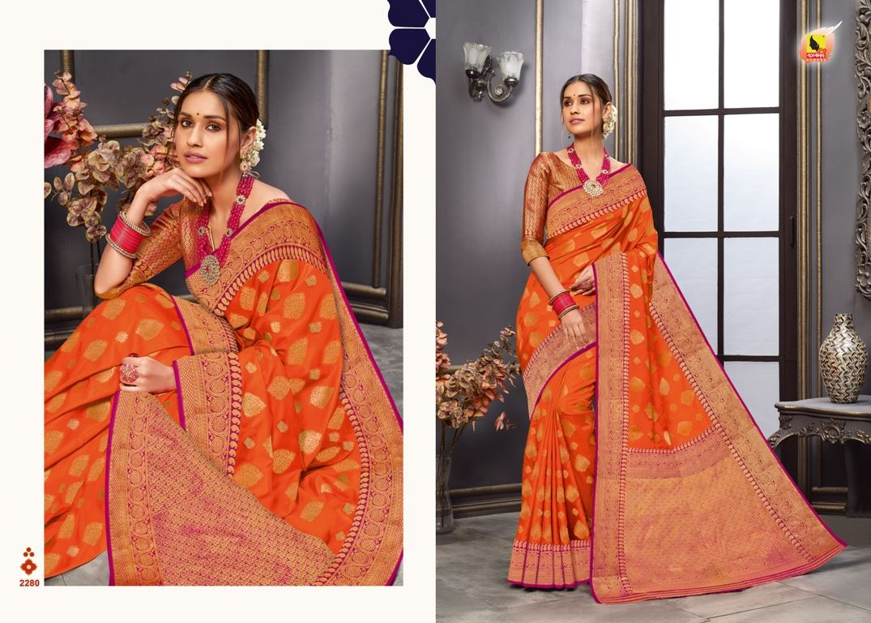 Orange Color Tussar Silk Fabric Fancy Saree