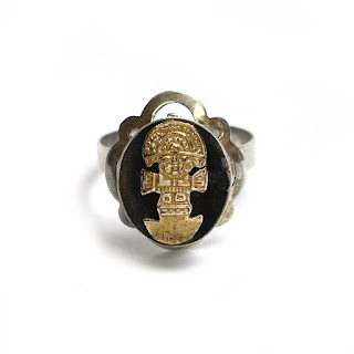 Sterling Silver & 18K Gold Incan Ring