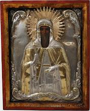 Icoana Sf. Antonie cel Mare,  sec al XIX-lea, ferecatura argint