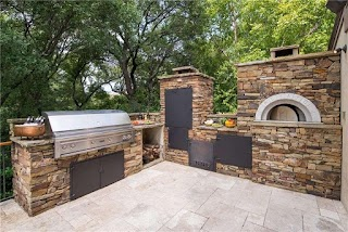 Outdoor Kitchen with Smoker and Pizza Oven Fort Worth Texas
