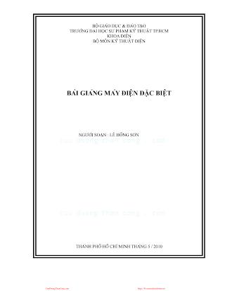 SPKT.Bài Giảng Máy Điện Đặc Biệt - Lê Hồng Sơn, 67 Trang.pdf