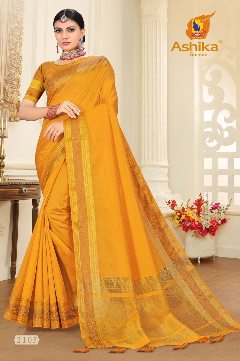 Yellow Tussar Silk Fabric Function Wear Fancy Zari Work Saree