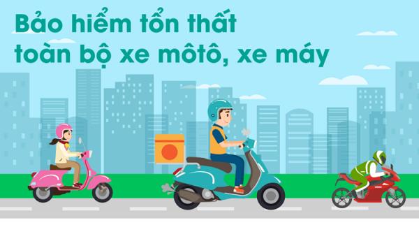 Các mức phí và quyền lợi tương đương khi mua sản phẩm bảo hiểm Tổn thất xe máy