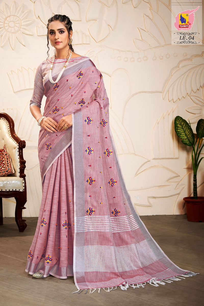 Lavender Color Embroidered Linen Fabric Fancy Saree