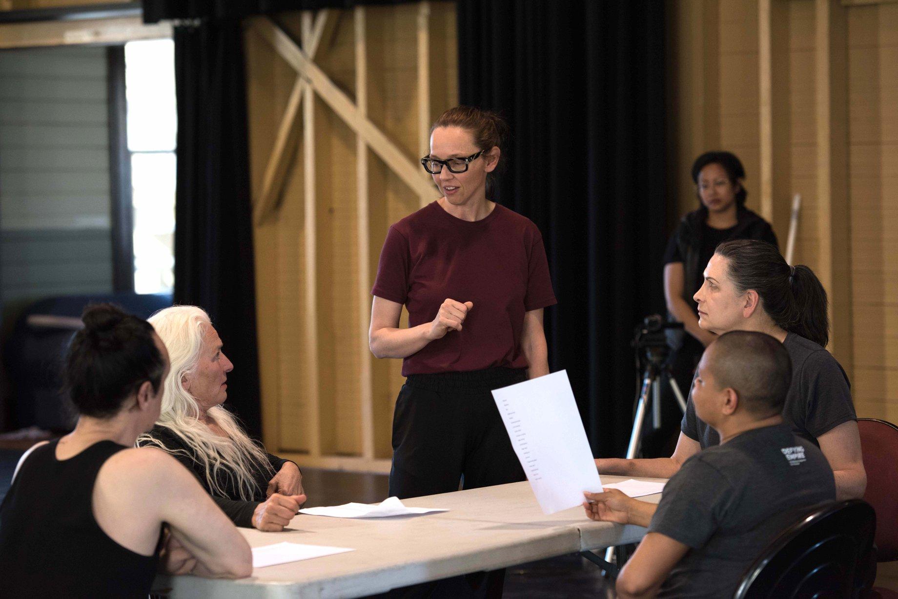 Danielle Micich directing Paul Capsis, Olwen Foréré, Danielle Micich, Pamela Rabe and Ursula Yovich in Creative development for Four Seasons. 2019. Photo by Ashley de Prazer