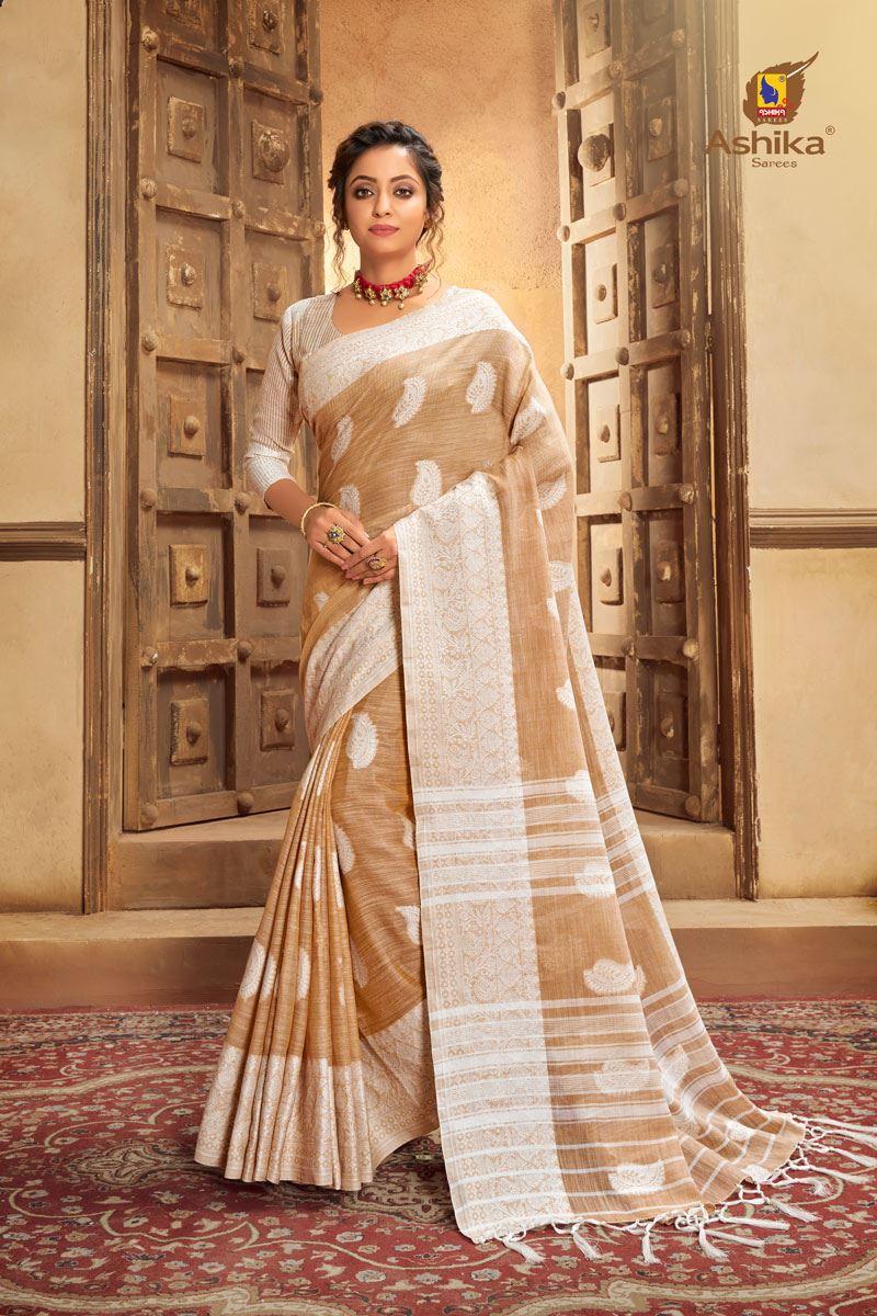 Brown Color Cotton Linen Fabric Stylish Resham Work Saree