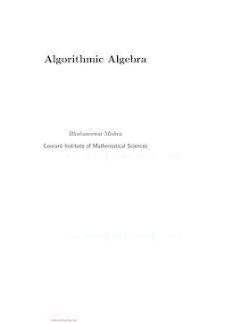 _0387940901 {ACCC13F6} Algorithmic Algebra [Mishra 1993].pdf