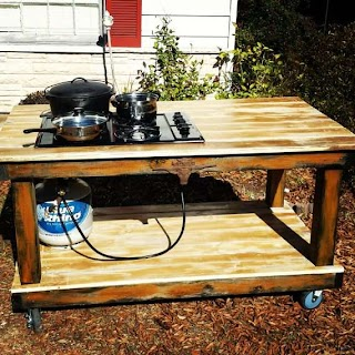 Outdoor Canning Kitchen Items Similar to Propane Cooktop Bbq Table Chrome