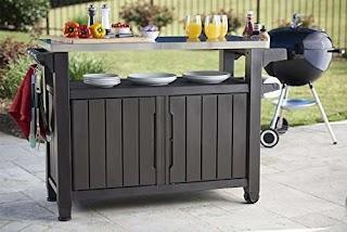 Outdoor Kitchen Carts Amazoncom Keter Unity Xl Indoor Entertainment Bbq Storage