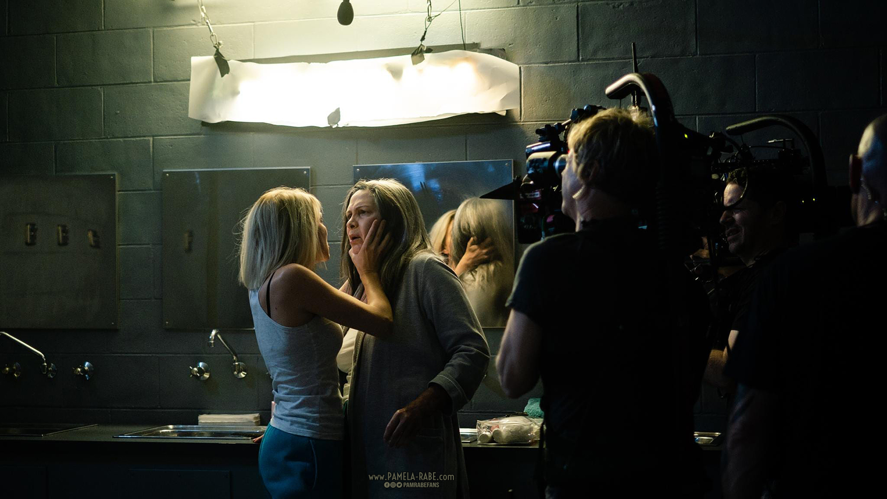 Behind the scenes of Wentworth – Kate Jenkinson and Pamela Rabe. Pic: Jane Zhang