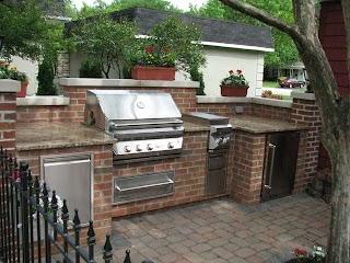Outdoor Kitchen Brick Granite Limestone Traditional Patio