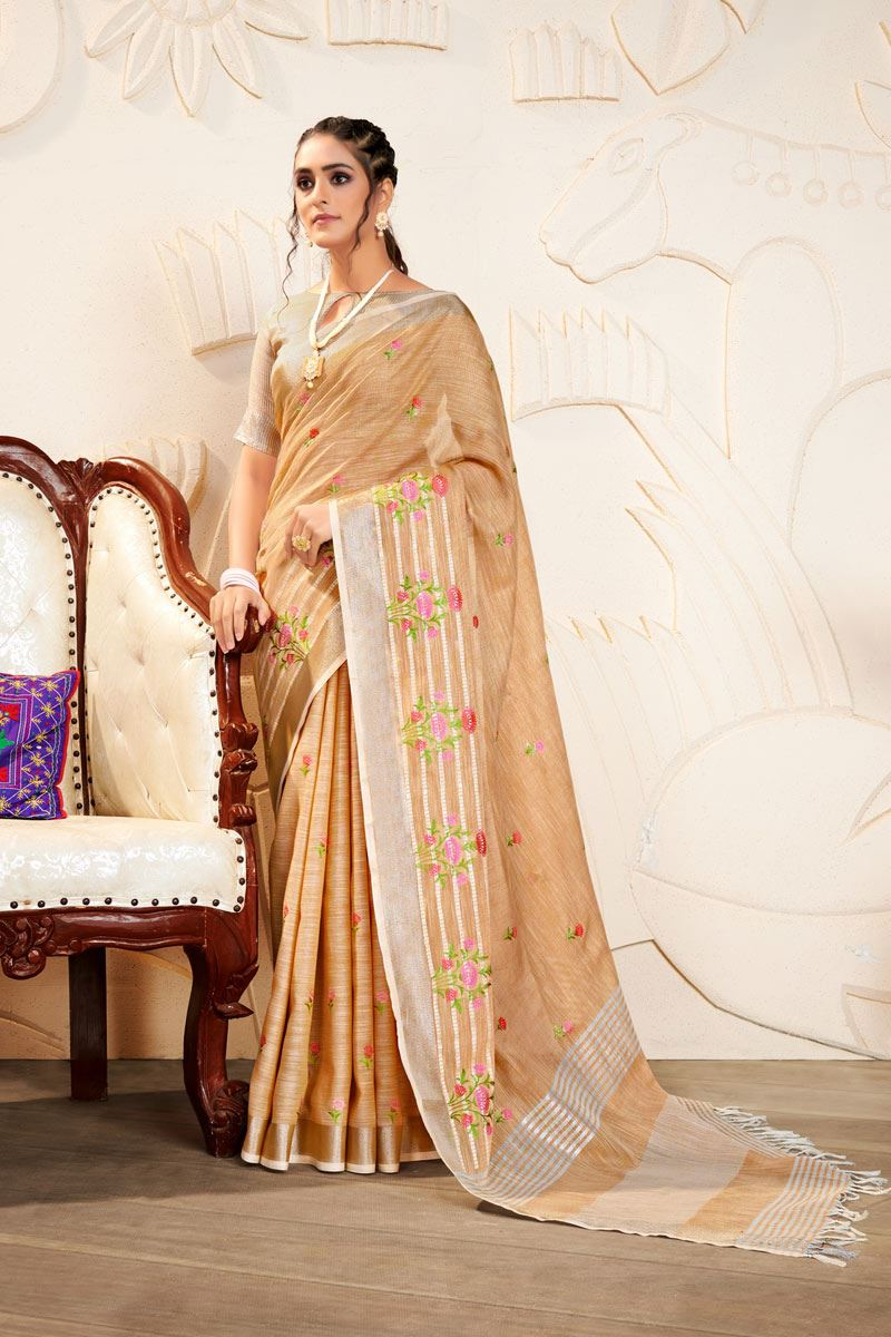 Cream Color Embroidered Linen Fabric Fancy Saree