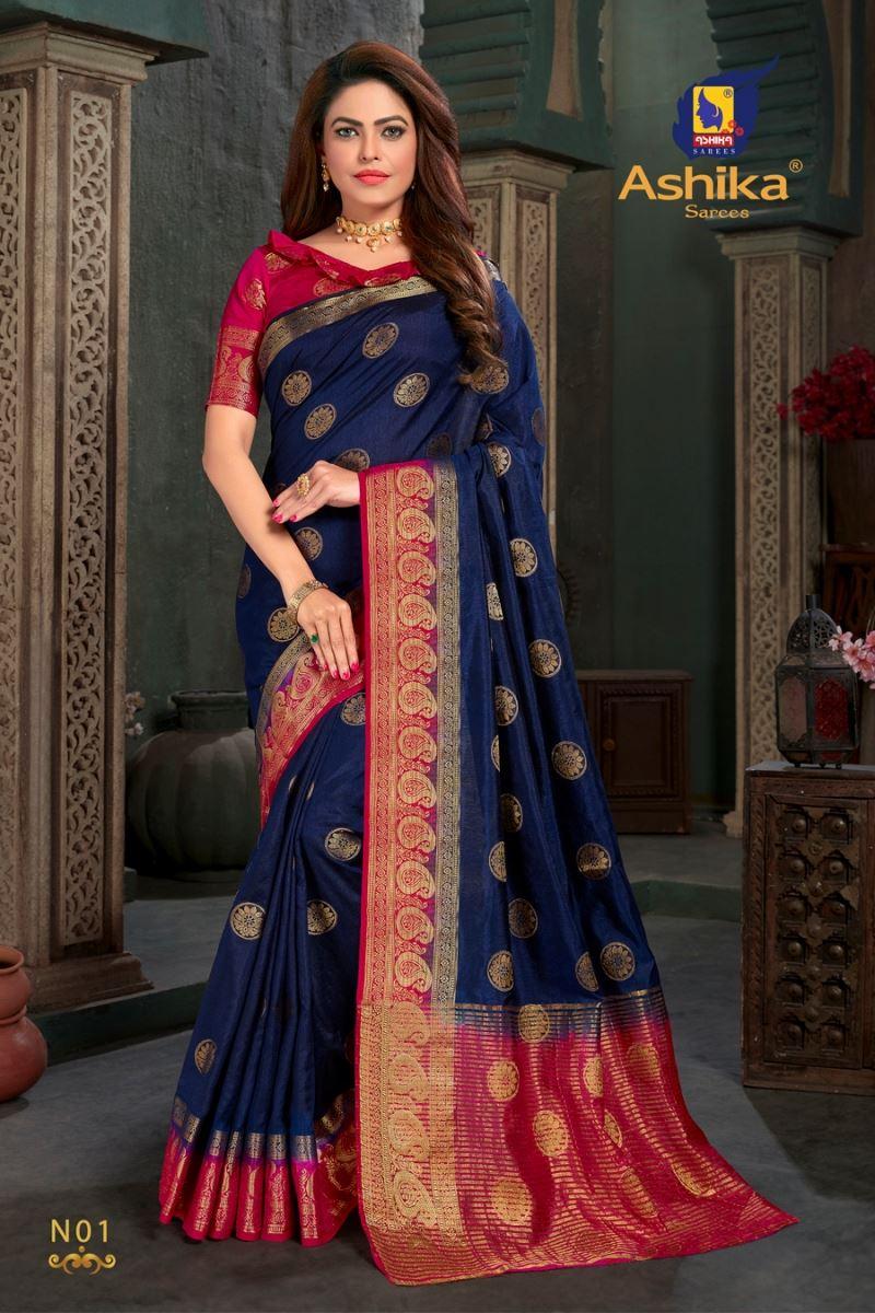 Navy Blue Colour Silk Saree