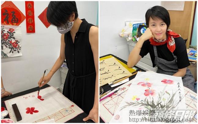 梁詠琪在疫情下不斷增值,最近開始學畫水墨畫。