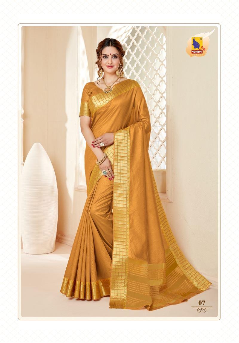 Gold Colour Cotton Silk Saree