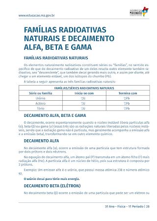 FAMÍLIAS RADIOATIVAS NATURAIS E DECAIMENTO ALFA, BETA E GAMA