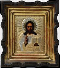 Icoana Iisus Hristos Pantocrator, sec al XIX-lea, Rusia, riza argint aurit