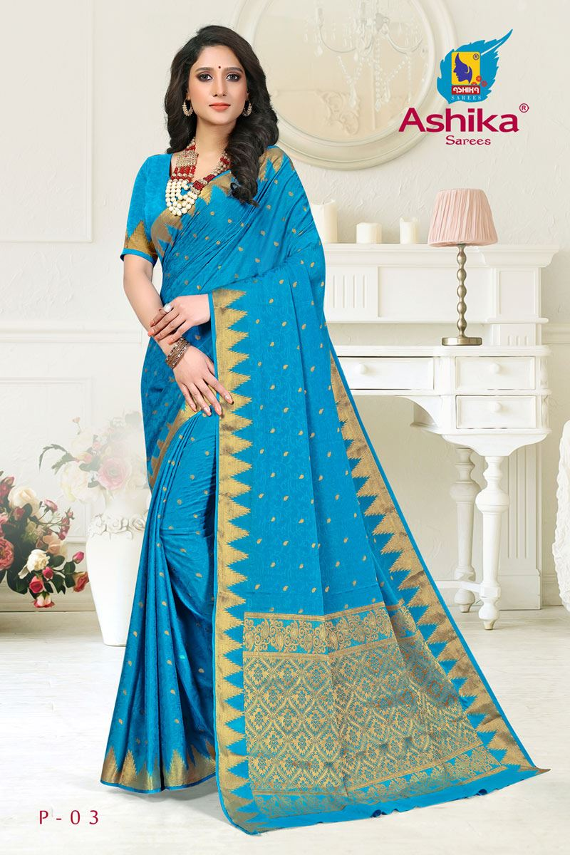 Sky Blue Color Crepe Fabric Function Wear Weaving Work Saree