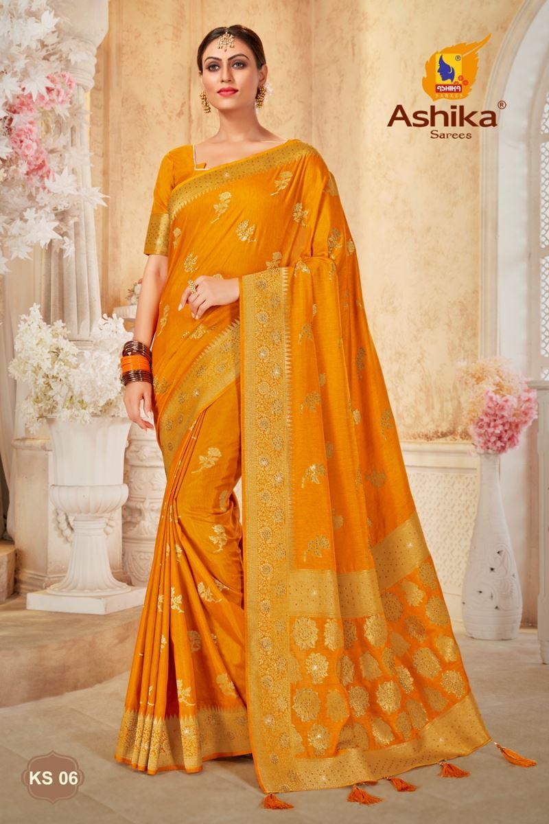 Gold Color Art Silk Fabric Stone Work Fancy Saree
