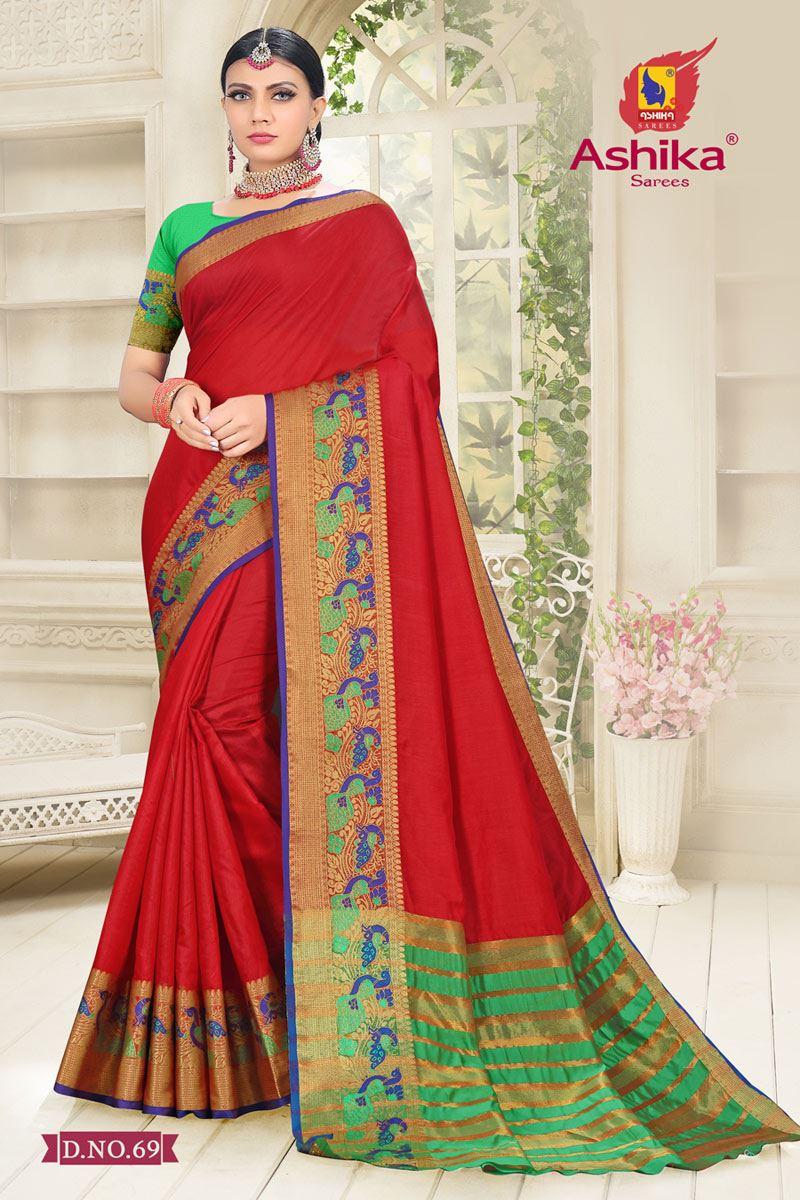 Red Color Cotton Silk Fabric Reception Wear Border Work Saree