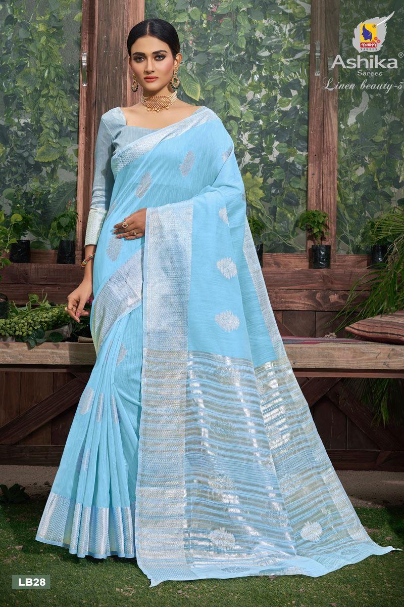 Sky Blue Color Linen Fabric  Casual Zari Work Saree