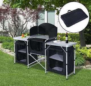 Outdoor Portable Kitchen Camping Picnic Cabinet Table Folding Cooking Storage Rack Alu