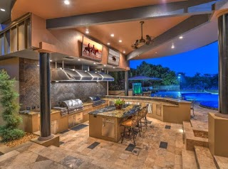 Commercial Outdoor Kitchen with Vent Hood Spaces