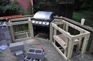 Unique Outdoor Kitchens Kitchen Wood Frame with Corner Placement Builtin