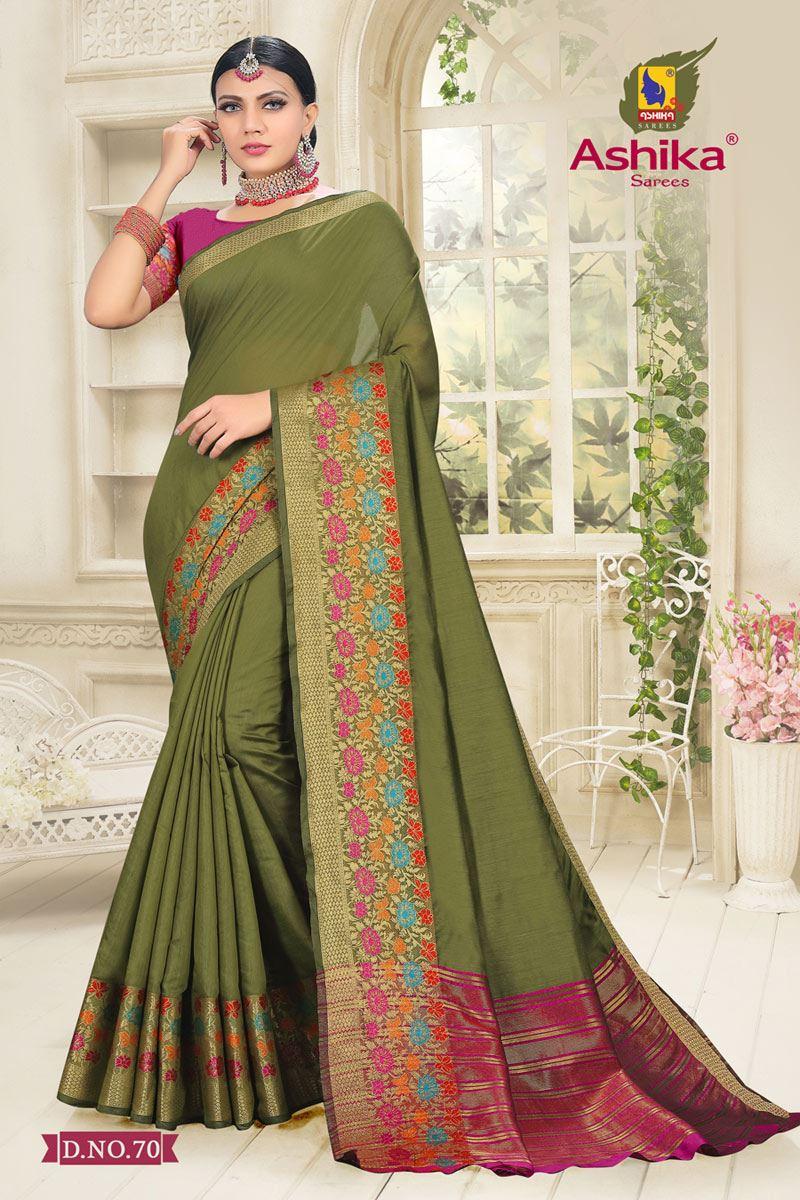 Mehendi Green Color Cotton Silk Fabric Reception Wear Border Work Saree