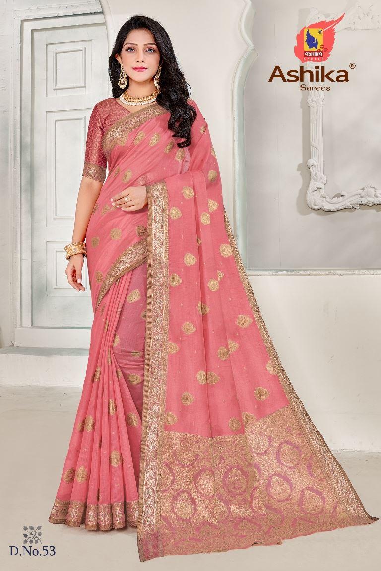 Pink Colour linen Fabric Fancy Saree